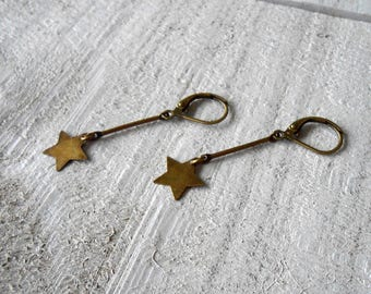 Minimalist bronze earrings, sequin star