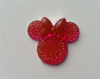 tête de souris minnie  rose fuchsia 30*25mm