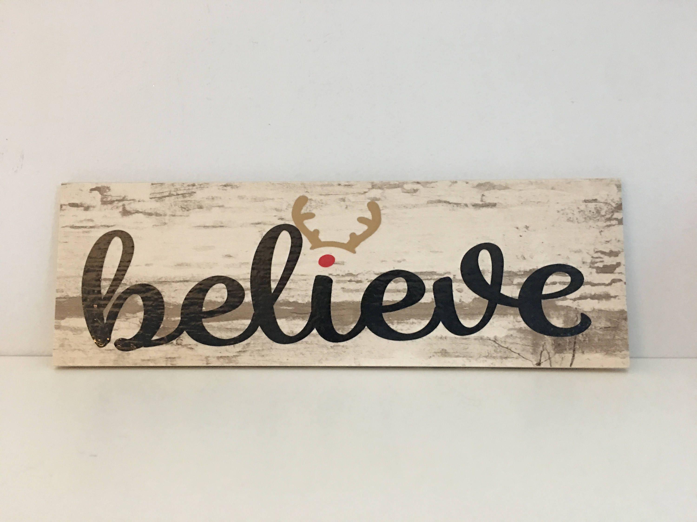 believe christmas sign reindeer christmas sign holiday decor wood look ceramic tile believe
