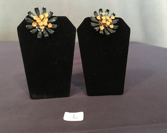 Mid-Century Mustard Yellow/Black Botanical Earrings (Clip)