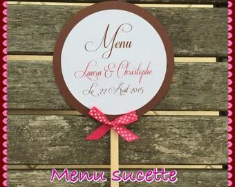 Menu lollipop wedding or baptism gourmet