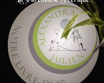 Guestbook round custom gray and lime green