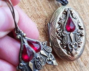 bloody ornaments-  collier set with Art Nouveau in red and bronze, steampunk, studs, ears,chandelier, victorian, burlesque, vintage, niobium