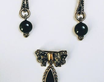 Sterling Silver Art Deco Antique/Vintage Earrings & Brooch with Onyx and Citrine Gemstone