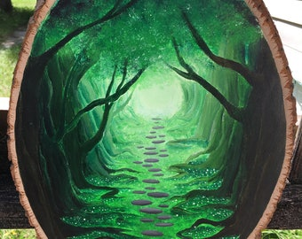 forest path wood slice painting