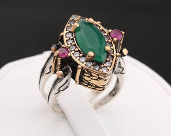 Unbelievable Ring! Two in a One Ring Reversible Style Marquise Cut Emerald Ruby Jade and White Shiny Topaz 2 Band Women Ring All Sizes