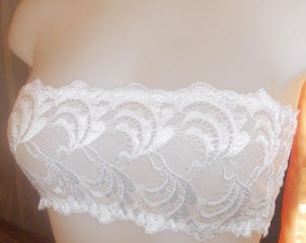 Support-bra with lace of calais white waist-38-40 length 14 cm.