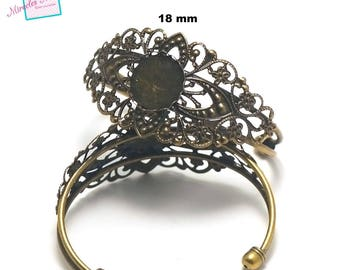 1 bracelet supports round cabochon 18 mm filigree, bronze