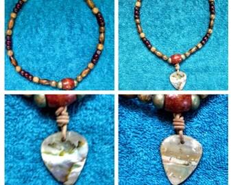 abalone guitar pick shape beaded necklace