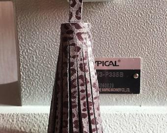 Purple leopard print gray leather tassel keychain