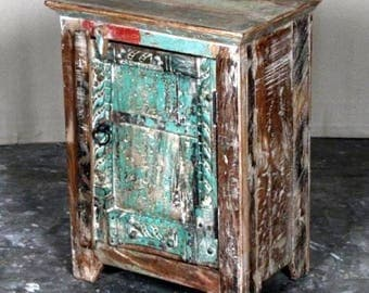 Unusual Bedside Cabinet - Reclaimed Wood Bedside Unit with an original Vintage Carved Door from Rajasthan, North India