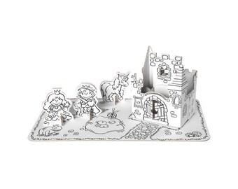 Set princesse en carton à construire et à colorier / Kit créatif DIY pour enfant / Coloriage anniversaire enfant