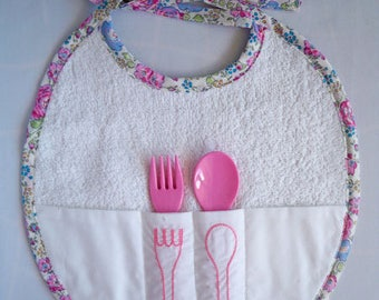 Pink/Blue floral border with fork and spoon bib