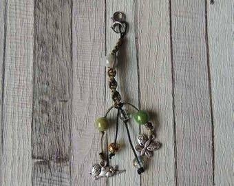 Bag charm or portable green macrame beads and charms