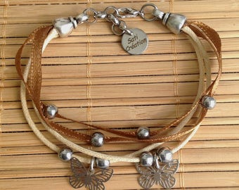 Multi strap cords, beige and silver