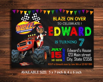 Blaze Invitation - Blaze Birthday Invitation - Blaze Party - Blaze Invite - Blaze The Monster Machines Party - Blaze Printable