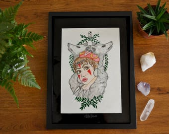 Moro Wolf Princess Mononoke Studio Ghibli Watercolor Painting | Watercolor Art | Home Decor | Nursery Decor