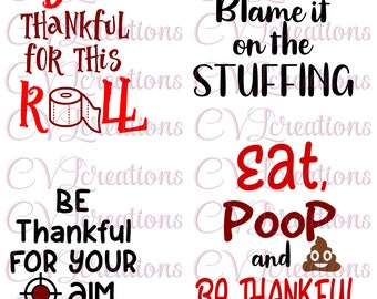 Thanksgiving Funny Toilet Paper Designs PNG DXF SVG