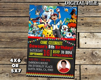 Pokemon Invitation,Pokemon Birthday Invitation,Pokemon,Birthday Invitation,Photo Invitation,Pokemon Birthday,Pokemon Party,Pokemon Invite