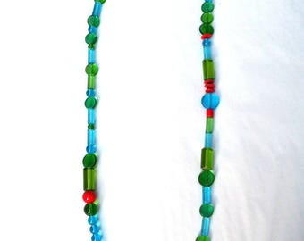Green and turquoise blue translucent glass beads necklace