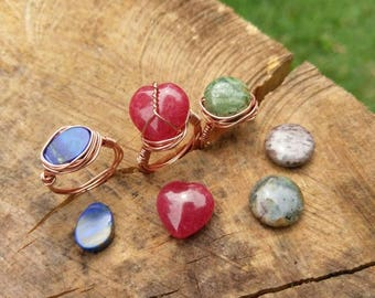 Earth.and.Moon, Love.and.Peace, Spirit.and.TheSea / Copper Wire Wrap Ring Collection