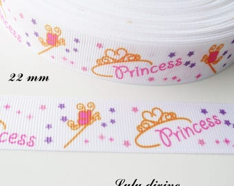 Crown Princess wand of 22 mm white grosgrain Ribbon sold by 50 cm