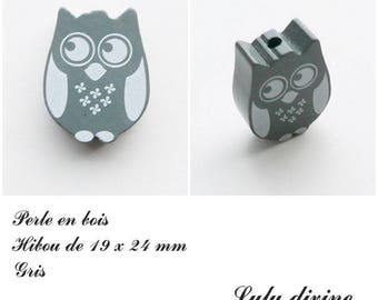 19 x 24 mm wooden bead, Pearl flat OWL / owl: gray