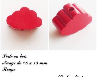 20 x 13 mm wood bead, Pearl flat cloud: Red