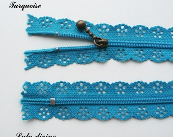Lace zipper turquoise of 25 cm not separable sold individually