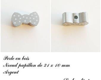 Wood 21 x 10 mm bead, Pearl flat bow tie: Silver
