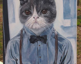 Humanized dressed cat painting