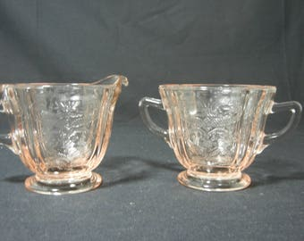 Recollection Pattern Creamer and Sugar Set by Indiana Glass