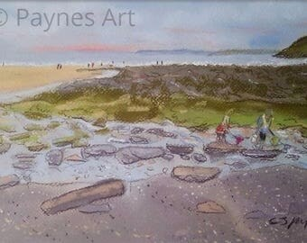 Rock Pooling at Manorbier Beach Pembrokeshire Giclee Pastel Painting Print Wall Art Summer Gift Seascape Summer Holiday Memories Family