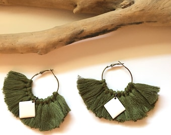 Elegant hoops & khaki pom poms! Large earrings, tassel pom pom pom pom earrings fancy Bohemian style