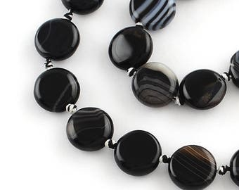 Black striped agate round and flat 10 mm - 20 beads bead flat stone black agate - agate black beads semi precious stone