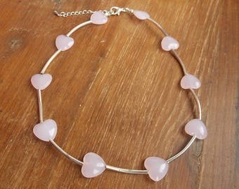 Silver and Rose Quartz beaded necklace