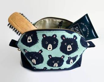 Hairy Bear Mint Green and Navy Shaving Travel Bag, Metal Brass Zipper, Box Bag, Sturdy Canvas, Zipper Tabs, Gift for Him, Toiletries, Makeup