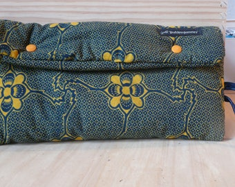 Quilted in African wax fabric pouch