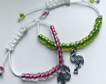 Flamingo Adjustable Beaded Charm Bracelet