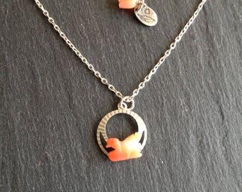 Silver Swan necklace coral
