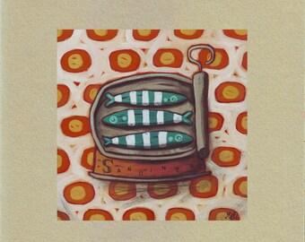 """Map illustration sardine Tin """"disco trio"""""""