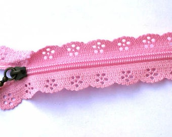 zipper lace pink 20cm
