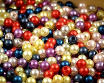 ❤ Assortment 300 beads waxed acrylic 5mm + or - 18 gr ❤