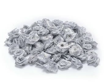 Set of 10 small roses silver sewing or craft 2cm