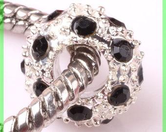 Pearl European N110 rhinestone spacer for bracelet charms