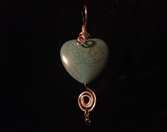 Heart with Dangle 03 Turquoise Pendant