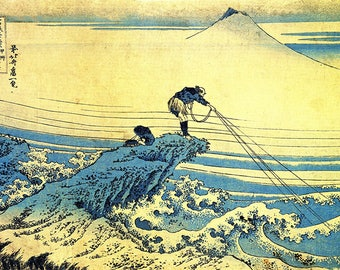 ORIGINAL SEMI RIGID PLACEMAT. Hokusai. Fishermen on a rocky headland.