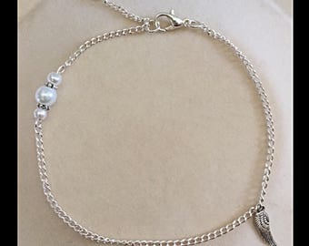 Angel wing anklet and glass beads