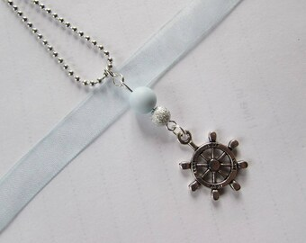 """Necklace """"take off"""" - Pearl blue, gray, ship wheel"""