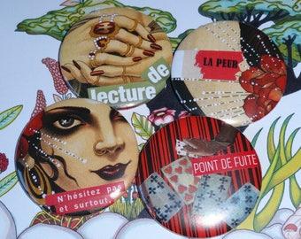 Reading of fear, Quartet of badges (collage)
